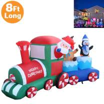 RETRO JUMP 8 Ft Long Lighted Christmas Inflatable Santa Claus Reindeer & Penguin on Train, New Year Blow up Indoor Outdoor Yard Garden Prop Decoration