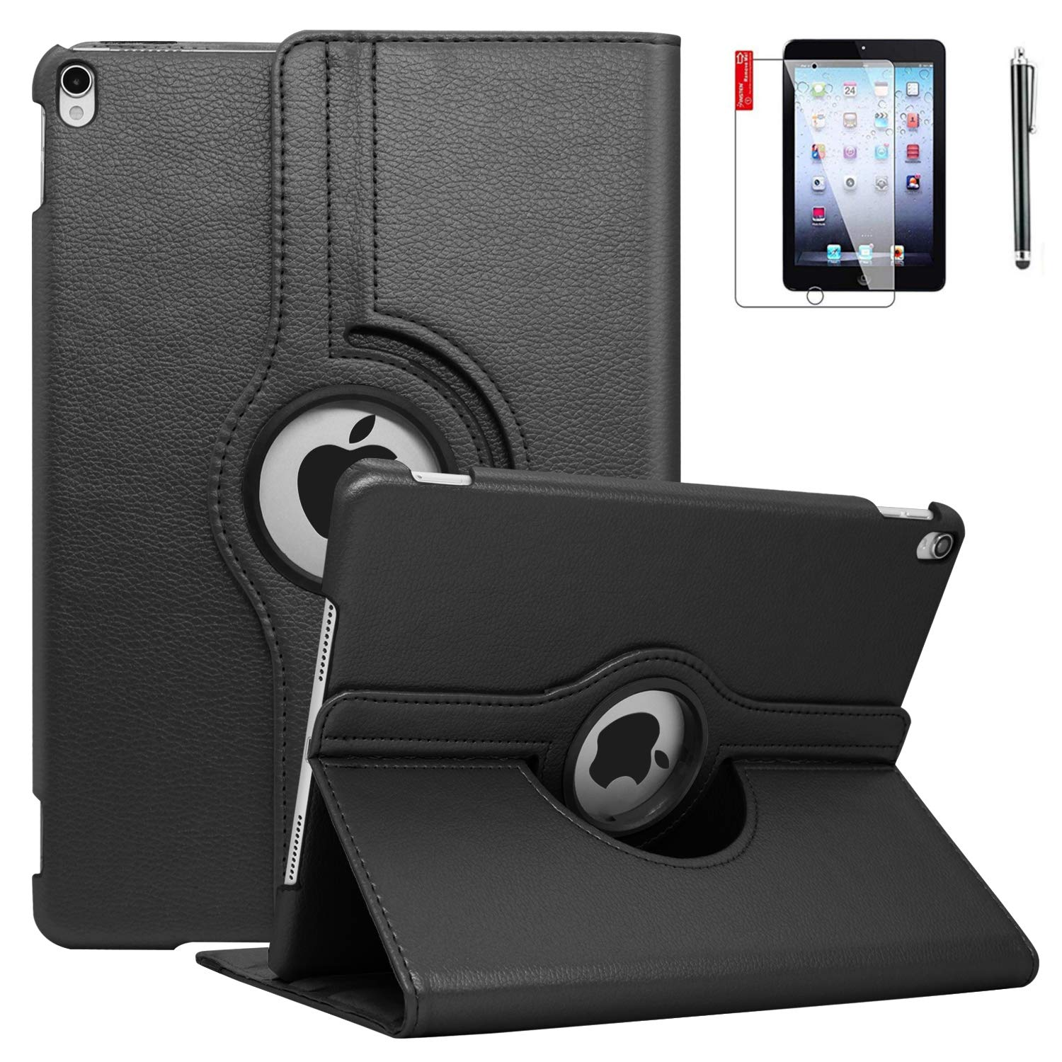 iPad Mini 3 Case with Bonus Screen Protector and Stylus - iPad Mini 3/2/1 Case Cover - 360 Degree Rotating Stand with Auto Sleep/Wake for Mini 1st/ 2nd/ 3rd Generation - A1599 A1600(Black)