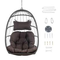 XIAO WEI Egg Chair Aluminum Frame Swing Chair Indoor Outdoor Hanging Egg Chair Patio Wicker Hanging Chair Hammock Chair with UV Resistant Cushion 350lbs for Bedroom Camping Patio Backyard Balcony