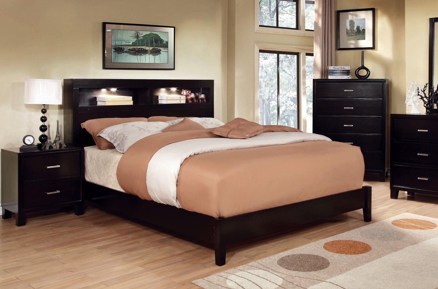 Furniture of America Metro Platform Bed with Bookcase Headboard and Light Design, California King, Espresso