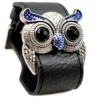 Accents Kingdom Silver Color Crystal Owl Leather Cuff Bracelet