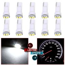 cciyu 10 Pack White T5 73 Wedge 3-3014SMD Instrument Gauge Dash Light LED Bulbs Replacement fit for 1996-1997 1999-2003 GMC Yukon XL 1500 K3500 Suburban K2500 K1500 Savana 1500 Sierra 2500 HD