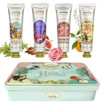 Beauty Gifts For Women: 4 Hand Cream Set/Shea Butter, Aloe Vera/Tin Gift Box/Un Air d'Antan/4 Perfumes: Verbena, Lilly Of The Valley, Rose, Almond/Gift For Her/Mum Gifts/Skincare Gift Set/Hand Set