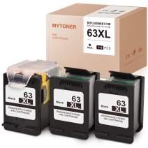 MYTONER Remanufactured Ink Cartridge Replacement for HP 63XL 63 XL Recharge Design for OfficeJet 3830 4650 5255 Envy 4520 4512 4516 Deskjet 1112 3630 3634 3632 2132 (Print Head + Cartridges,3-Black)