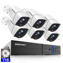 【5MP CAMERA】SMONET 5MP Home Security Camera System,6X5MP(2560TVL) Indoor Outdoor Weatherproof CCTV Wired Cameras,8CH Surveillance Camera System (1TB Hard Drive),Motion Alert,Night Vision,Remote Access