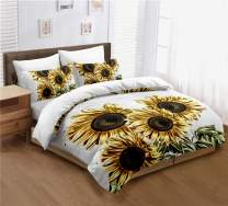 ayigu 3 Pieces Duvet Cover Set Queen Size Multi-Colored Sunflowers Leaf Floral Bedding 1 Duvet Cover 2 Pillowcases Luxury Quality Soft Breathable for Kids Boys Girls Children