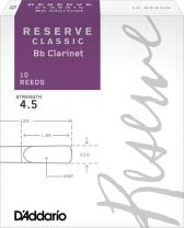 D'Addario Reserve Classic B♭ Clarinet Reeds, Strength 4.5 (10-Pack) – Thick Blank Reed Offers a Rich, Warm Tone, Exceptional Performance and Consistency – Ideal for Advanced Students or Professionals