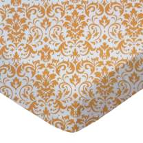 SheetWorld Fitted Sheet (Fits BabyBjorn Travel Crib Light) - Gold Damask - Made In USA
