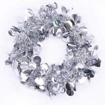 DreamColor Pack of 5 Total 24.5 Feet Christmas Tinsel Garland Sparkling Hanging Decoration Wedding Birthday Party Ornaments Supplies Each 4.9 Feet(1.5M) X8CM (Silver)