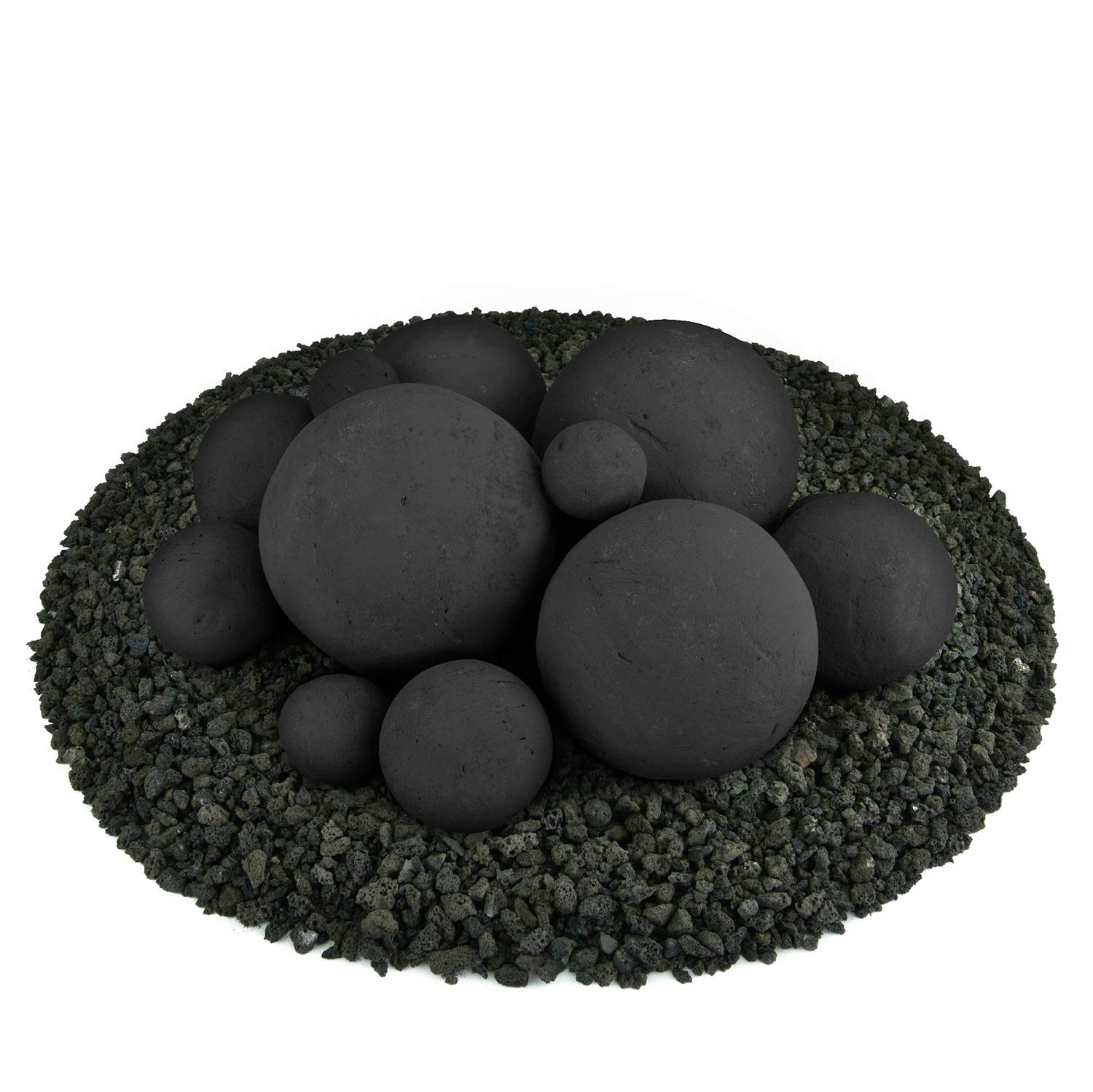 Ceramic Fire Balls | Mixed Set of 13 | Modern Accessory for Indoor and Outdoor Fire Pits or Fireplaces – Brushed Concrete Look | Midnight Black