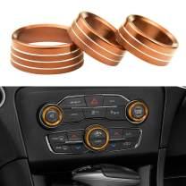 3pcs Aluminum Alloy Air Conditioner Switch CD Button Knob Compatible with Dodge Challenger Charger Chrysler 300 300s 2015-2019, Ram 2013-2018, Dodge Durango 2016-2020 (Orange)