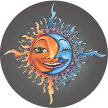 TIRE COVER CENTRAL Moon Sun Ying Yang on Grey-Black Tread Spare Tire Cover (Select tire Size/Back up Camera Option in MENU) Sizes for Any Make modelfor 225/75R15