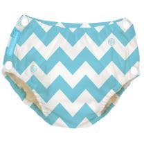 Charlie Banana Reusable Easy Snaps Swim Diaper, CB Blue Chevron, Medium