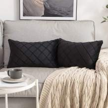 MIULEE Velvet Throw Pillow Covers Decorative Rectangular Soft Solid Pillowcases Plaid 12 X 20 Inch Black Couch Pillows Set of 2 Cushion Covers with Invisible Zipper for Sofa Bedroom Living Room