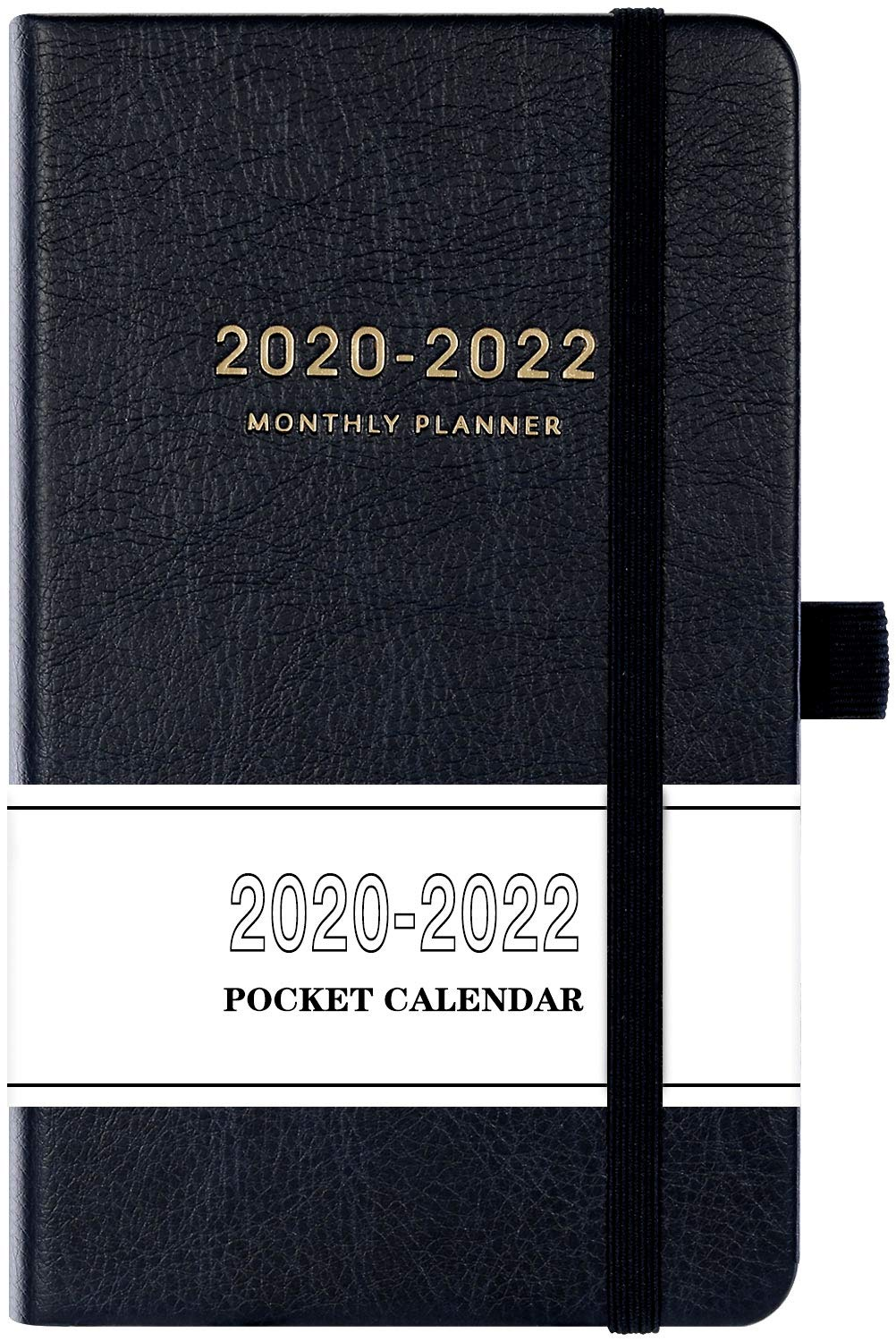 """2020-2022 Pocket Calendar - Monthly Pocket Planner (36-Month) with 63 Notes Pages, 3.8"""" x 6.3"""", 3 Year Monthly Planner with Contacts, Holidays and Pen Holder, Back Pocket with Thick Paper - Black"""