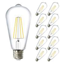 Sunco Lighting 10 Pack ST64 LED Bulb, Dimmable, Waterproof, 8.5W=60W, 6000K Daylight Deluxe, Vintage Edison Filament Bulb, 800 LM, E26 Base, Restauarant or String Lights - UL