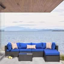 JETIME Outdoor Rattan Sofa Set Patio Furniture Wicker Garden Couch Sectional Set Conversation Sofa Set Outside w/Cushion (Black)