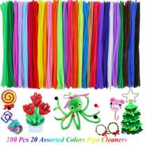 200 Pipe Cleaners in 20 Assorted Colors, Value Pack of Chenille Stems Pipe Cleaner for DIY Art Creative Crafts Decorations Fuzzy Sticks (6 mm x 12 Inch)