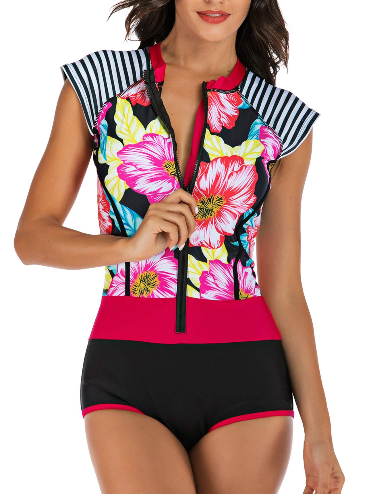 CPUTAN Women's Rashguard Long Sleeve Zip Swimsuit Print Surfing one Piece Swimwear
