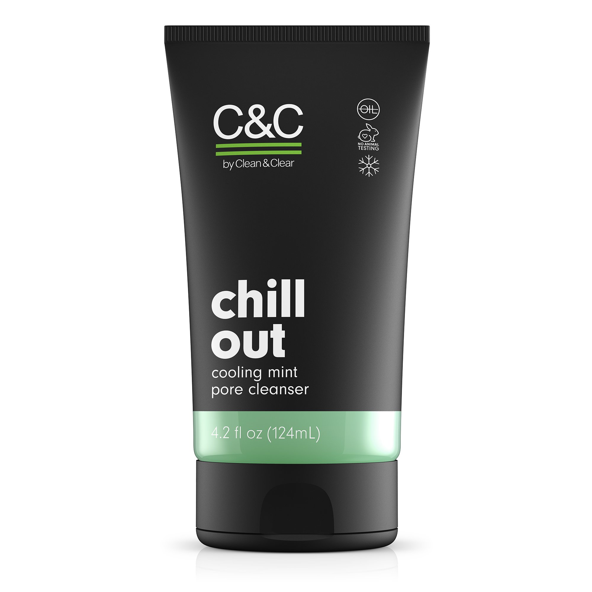 C&C by Clean & Clear Chill Out Cooling Mint Pore Facial Cleanser, Oil Free, Minty Fresh, Removes Dirt and Oil, Face Wash, 4.2 fl oz (Pack of 1)