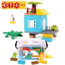 ETI Toys, 41 Piece Bublu Stilt House Building Blocks. Build Stilt House in Wilderness with Porch. 100 Percent Safe, Fun, Creative Skills Development. Gift, Toy for 3, 4, 5 Year Old Boys and Girls