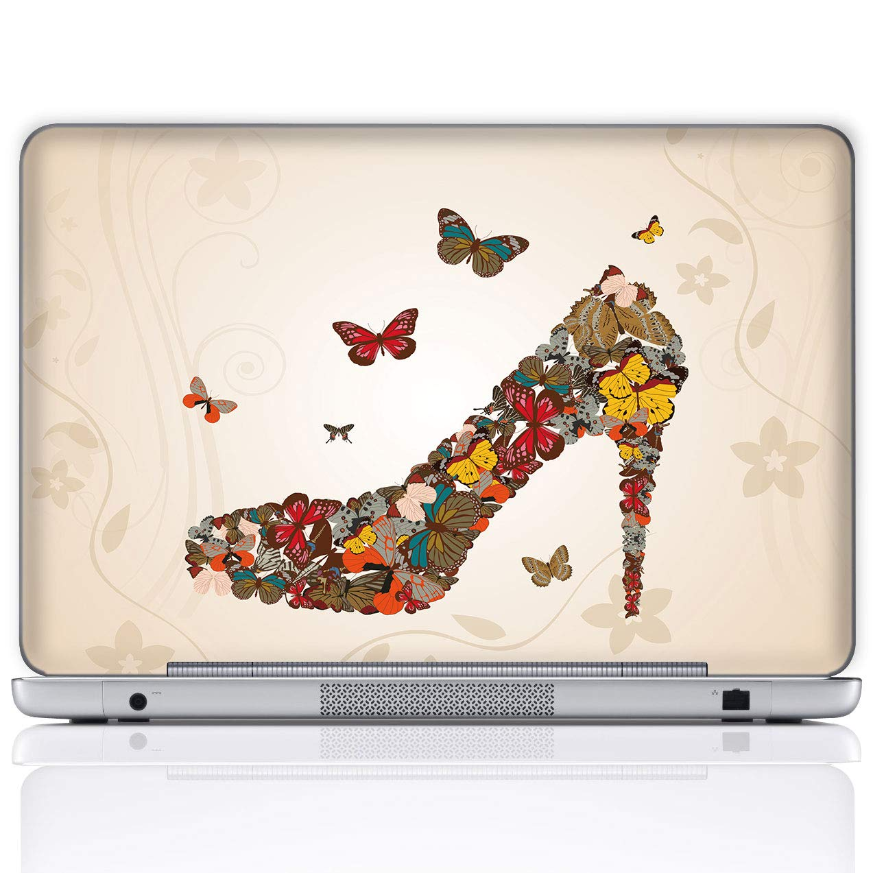 Meffort Inc 17 17.3 Inch Laptop Notebook Skin Sticker Cover Art Decal (Included 2 Wrist pad) - Butterfly High Heel