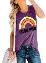 Imily Bela Womens Graphic Tank Tops Good Vibes Summer Sleeveless Rainbow Casual Tees
