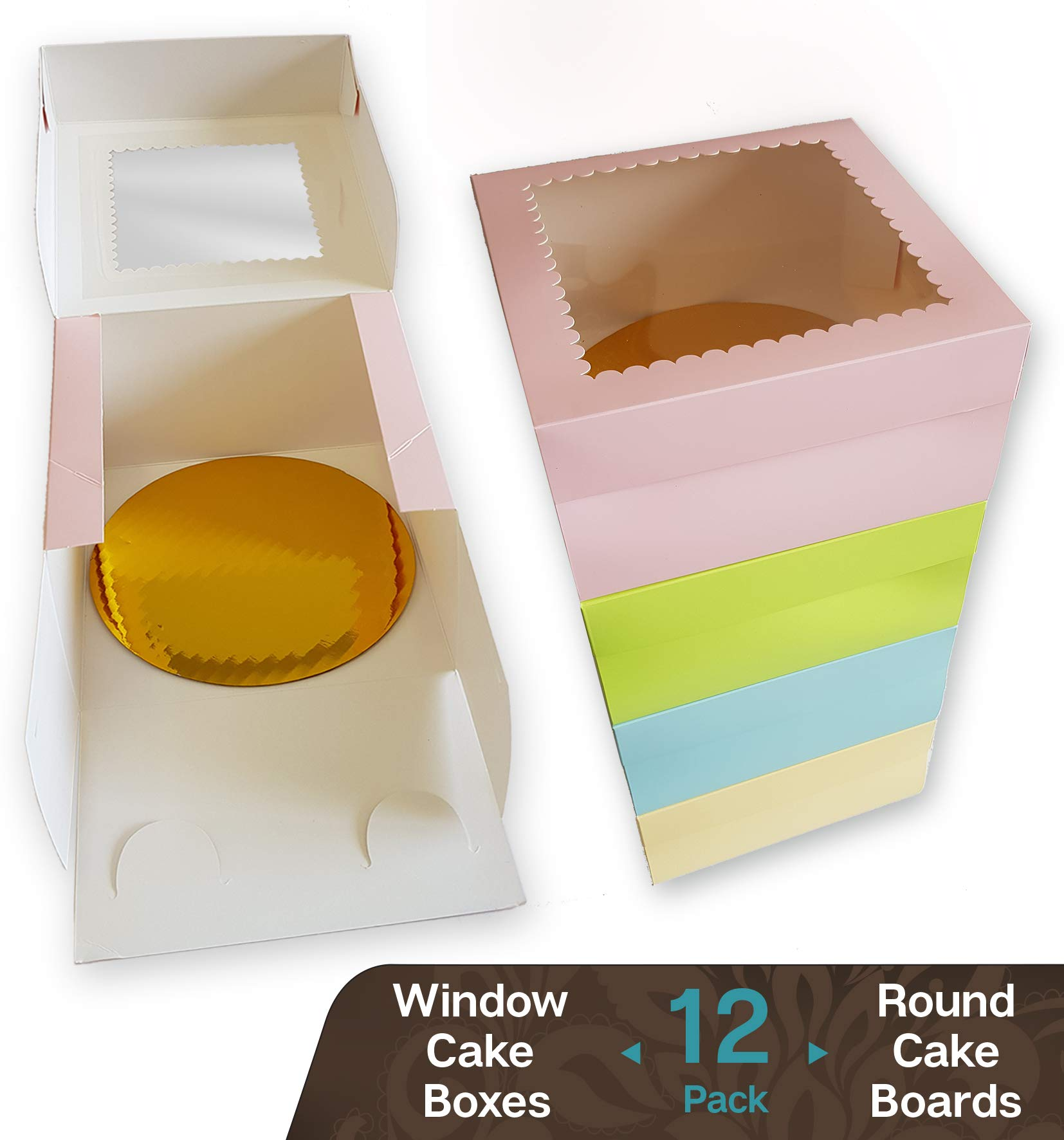 CooKeezz Couture - Cake Box - Colored Window Bakery Packaging Decorated Boxes Great for Donuts , Bakery , Pies - Assorted 12 Pack Decorated Boxes in 4 Pastel Colors , Included 12 Round Cake Boards (12x12x5)