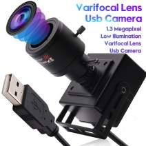 Varifocal Lens Usb Camera 960P Usb Webcam Mini Camera,1.3MP Low Illuminations Usb with Cameras,USB2.0 Web Cameras,Plug&Play,AR0130,2.8-12mm Varifocal Lens USB Camera with UVC for Android Linux Windows