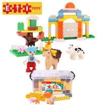 ETI Toys, 60 Piece Bublu Animal Story Building Blocks. Build Talking Sage Tree, Fortress with Farm Animals. Safe, Creative Skills Development. Gift, Toy for 3, 4, 5 Year Old Boys and Girls