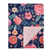 Baby Blanket for Girls Super Soft Double Layer Minky with Dotted Backing, Elegant Receiving Blanket with Pink Floral Multicolor Printed Blanket 50 x 60 Inch(125x150cm), Navy Blue