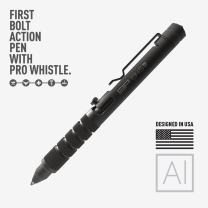 GP 1945 Bolt Action Pen PRO -Machined Titanium/Aluminum, Multi-Tone Whistle, Breaker Integrated. USA.