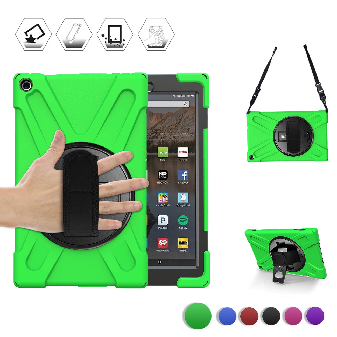 BRAECN Amazon Kindle Fire HD 10 Case 7th/9th Gen,[Hand Strap] [Shoulder Strap] [Rotating Kickstand] Heavy Duty Protection Rugged Case for Amazon Fire HD 10.1 Inch Tablet 2019/2017 Release (Green)