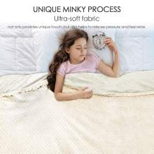 Anjee Weighted Blankets for Kids 7lbs with Removable Minky Cover, Cooling Heavy Blanket with Premium Glass Beads Help Deep Sleep, 41 x 60 Inch,Cotton/Minky, Ivory