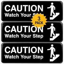 Caution Watch Your Step Sign: for Business Restaurants Offices Indoor Outdoor Use Easy to Mount Informative Plastic Sign with Symbols 9x3, Pack of 3 (Black)