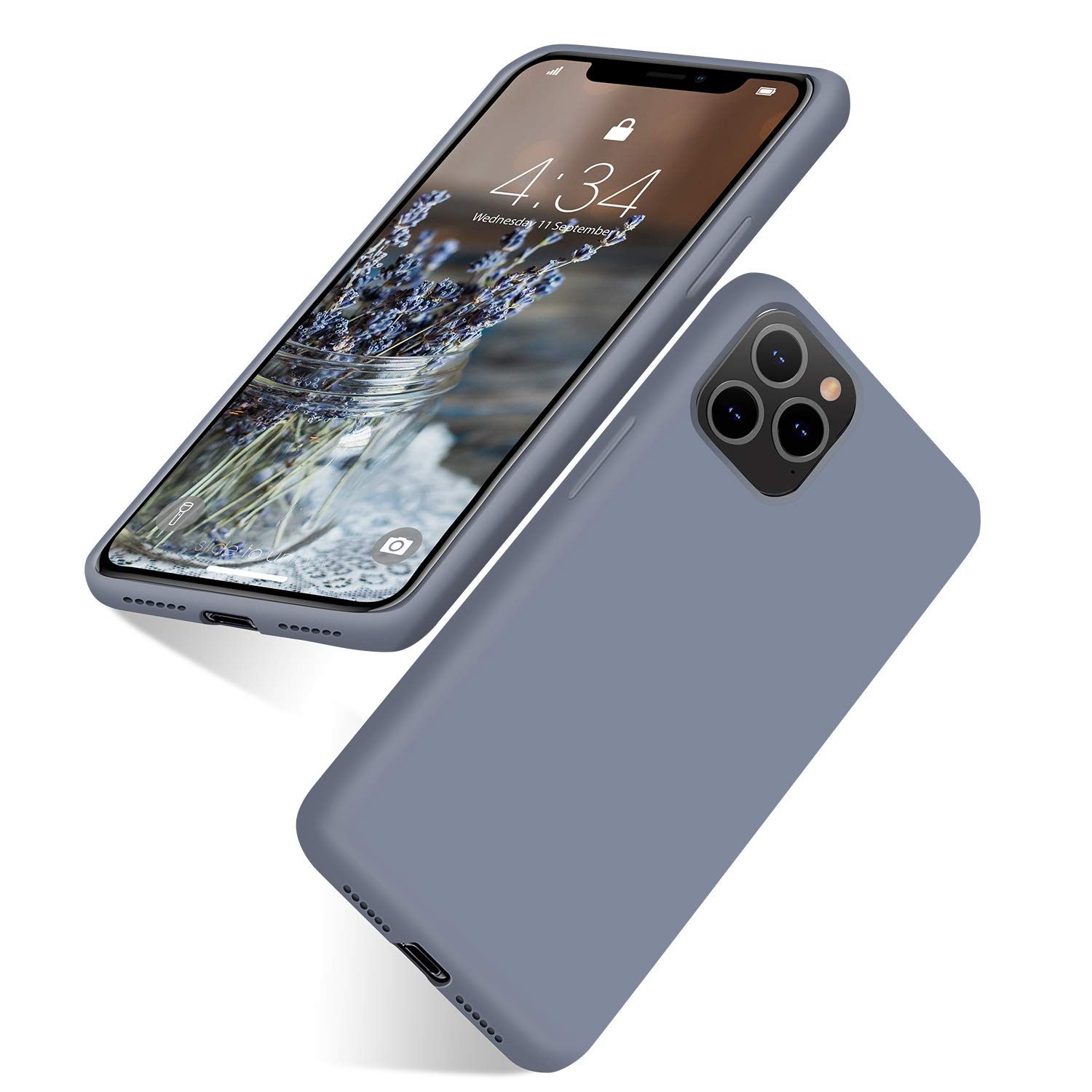abitku iPhone 11 Pro Case Silicone, Gel Rubber (Full Body Case with Microfiber Lining) Drop Protective Shockproof Case for iPhone 11 Pro 5.8 inch-Lavender Gray