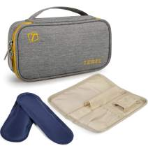 TEBEL Portable Extra-Large Insulin Bag Diabetic Organizer Medical Travel Cooler Pack with Handle and Waist Belt+ 2 Ice Pack (Grey)