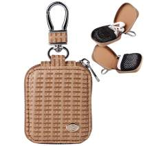 MRPLUM Earbud Carrying Case Small Compatible with AirPods PU Leather Hard Portable Earphone Case Protective Storage Pouch Bag with Mesh Pocket & Keychain for Wireless Headphone USB Cable (Light Brown)