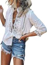 Cisisily Women's V Neck Lace Crochet Tops Casual T Shirts Blouses Tops