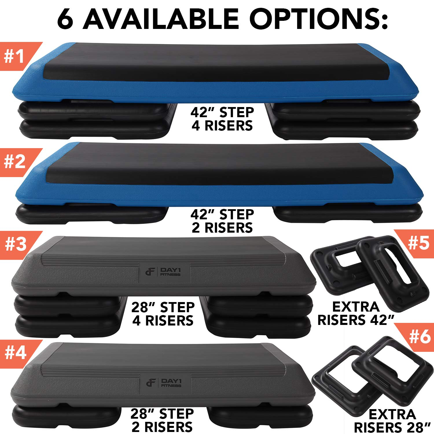 Aerobic Exercise Step Platform by Day 1 Fitness – 6 OPTIONS - 28in CIRCUIT SIZE STEP or 42in HEALTH CLUB SIZE with 2 or 4 RISERS, or ADDITIONAL RISERS - Non-Slip and Shock Absorbing Surface