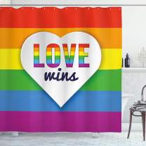 """Ambesonne Pride Shower Curtain, Rainbow Flag with Stripes Heart with Love Wins Text LGBT Culture Colorful, Cloth Fabric Bathroom Decor Set with Hooks, 70"""" Long, Purple Blue"""