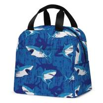 Insulated Lunch Bag, Cute Reusable Kids Lunch Box Container Cooler Lunch Tote Bag for Women Girls and Boys School Picnic Travel Outdoors(Royal Blue with Shark£