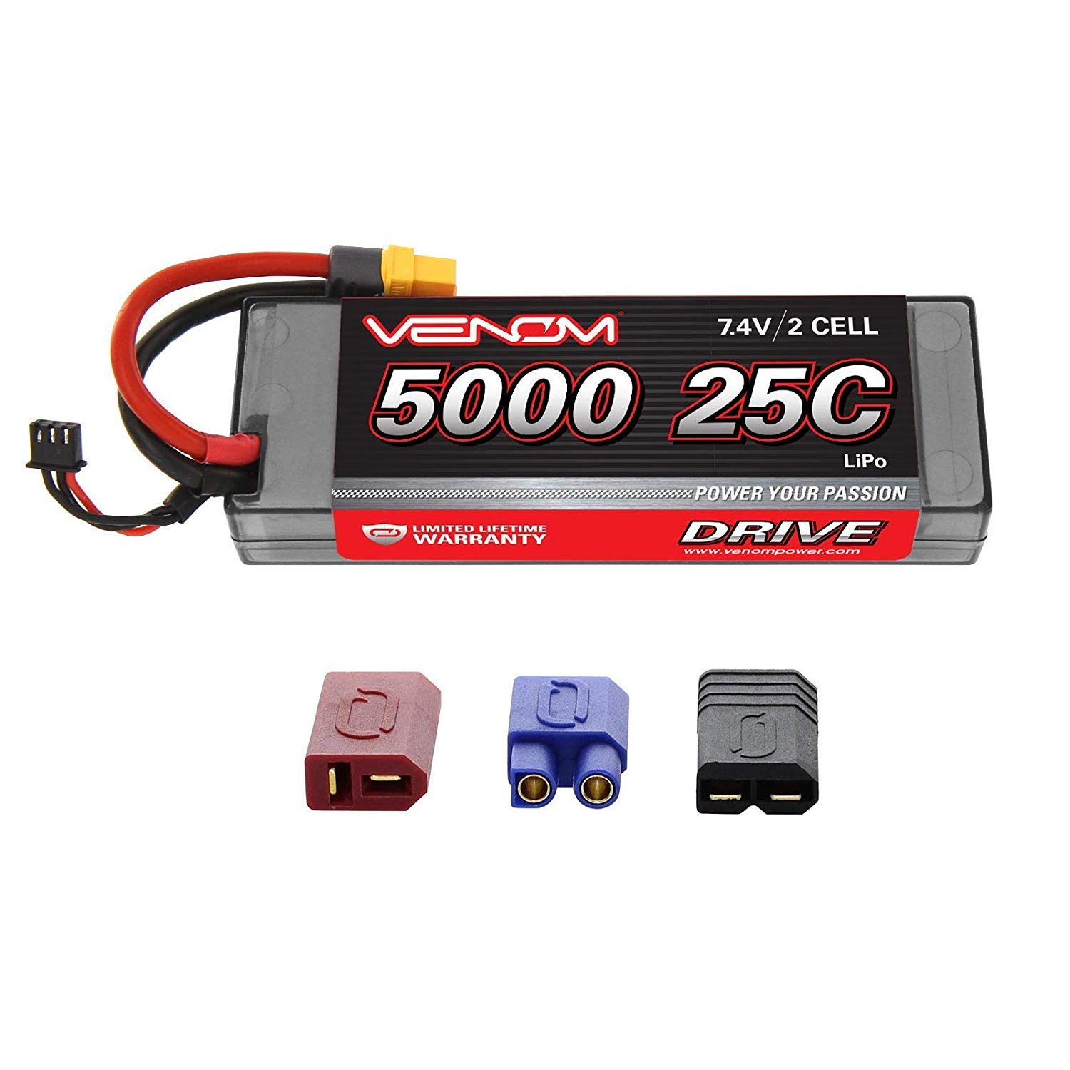 Venom Heavy-Duty 2S LiPo Battery   25C 2S 5000mAh 7.4V LiPo Battery   High-Performance Hard Case 2S LiPo RC Battery with Universal Plug and Adapter for Traxxas, Deans, EC3