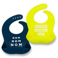 Silicone Baby Bibs for Girls and Boys - Waterproof Bib Set for Babies and Toddlers - BPA Free Feeding and Weaning Bibs - Modern, Soft, Easy to Clean (Navy/Lime)