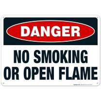 Danger Sign, No Smoking Or Open Flame Sign, 10x14 Rust Free Aluminum, Weather/Fade Resistant, Easy Mounting, Indoor/Outdoor Use, Made in USA by SIGO SIGNS