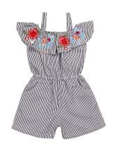 Toddler Baby Girl Outfit Floral Embroidery Ruffle-Sleeve Romper Short Striped One-Piece Jumpsuit with Waist Kid Summer Clothes(2-3T) Grey