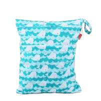 Damero Cloth Diaper Wet Dry Bag with Handle for Swimsuit, Pumping Parts, Wet Clothes and More, Ideal for Travel, Exercise, Daycare, Swimming, Reusable and Water-Resistant (Medium,Cute Whale)
