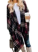 VIMPUNEC Women Boho Buffalo Plaid Poncho Pashmina Shawl Wrap Cape Sweater Knitting Cardigan with Tassel