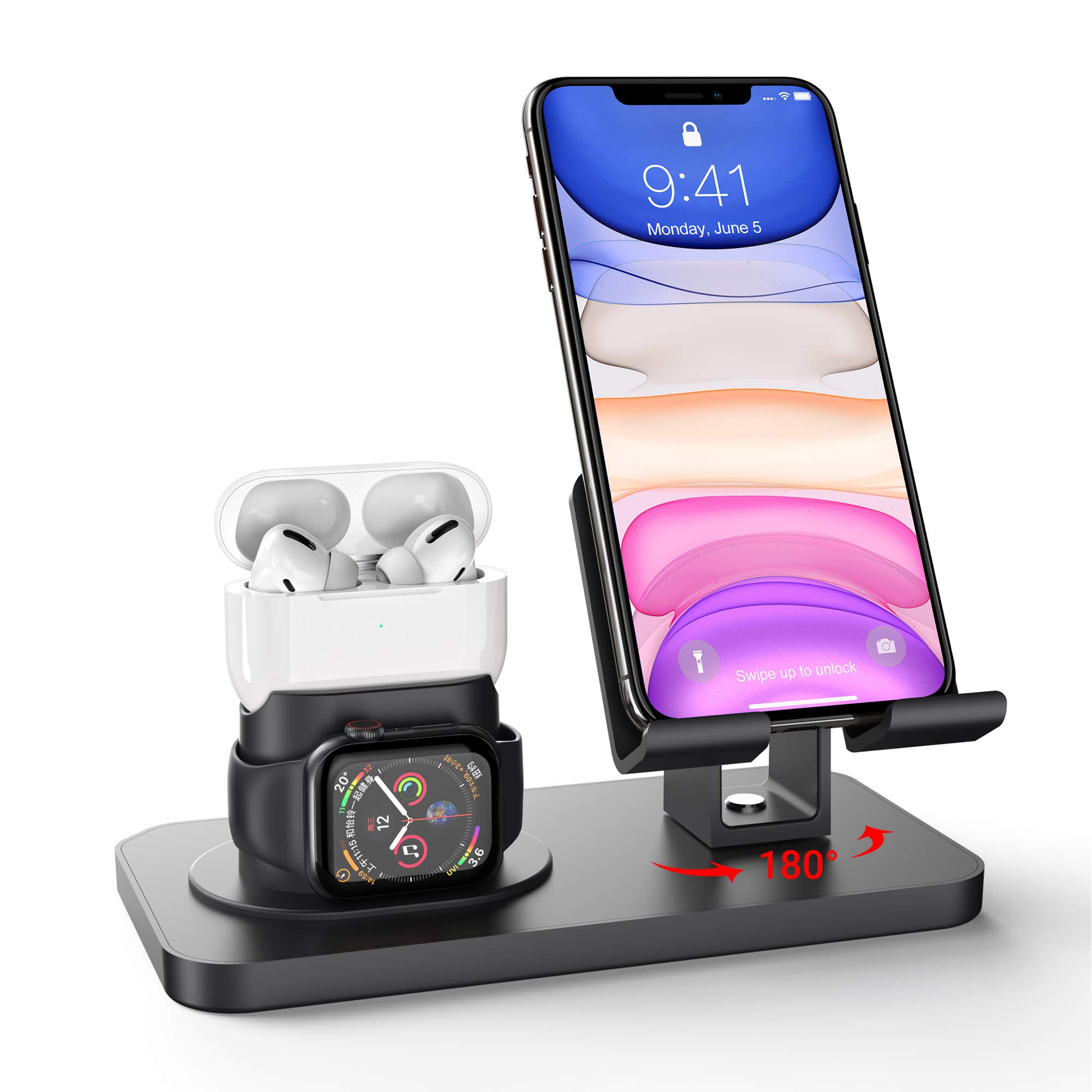 Imguardz 3 in 1 Charging Stand Compatible with iWatch Series 5/4/3/2/1, AirPods Pro 2/1 and iPhone 11/XR/X/Xs/Max/8/8 Plus/7/7 Plus/6s/6s Plus/5/SE (Charger & Cables Required), Black