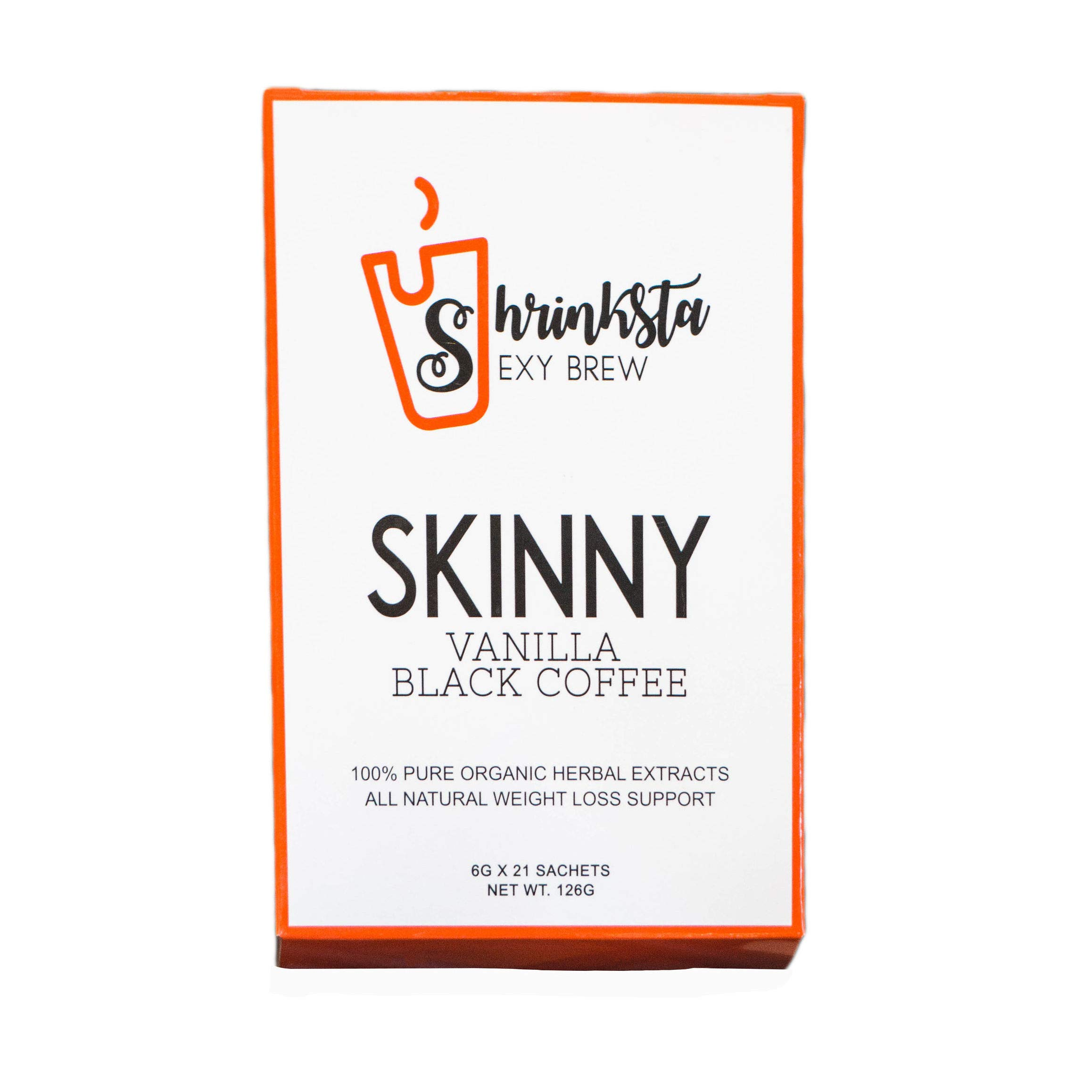 Shrinksta Organic Slimming Weightloss Coffee - All Natural, Vegan, Sugar Free   hCG Diet Approved, Perfect On-The-Go Support   21 Packets in a Box, Vanilla Flavor